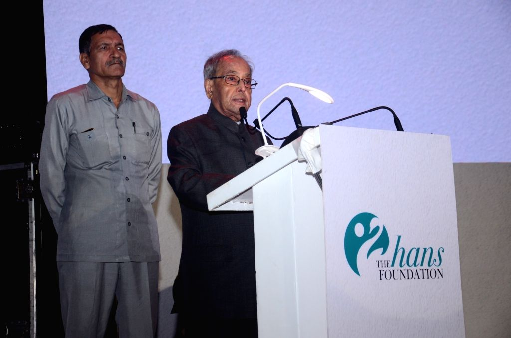 Former President Pranab Mukherjee addresses during the Hans Foundation's 10th anniversary celebrations in New Delhi on Nov 3, 2019. - Pranab Mukherjee