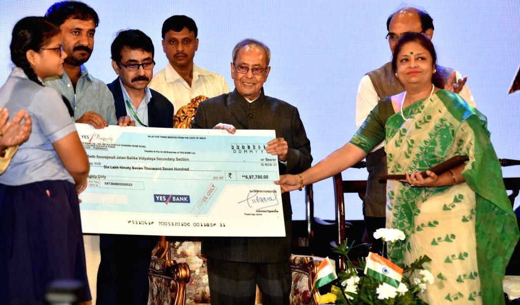 Former President Pranab Mukherjee during a Beti Padhaao Abhiyaan program in Kolkata on Aug 26, 2019. - Pranab Mukherjee