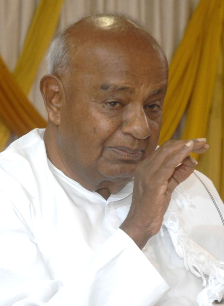 Former Prime Minister and Janata Dal (Secular) National President H.D. Deve Gowda addresses a press conference in Bengaluru on April 4, 2018.