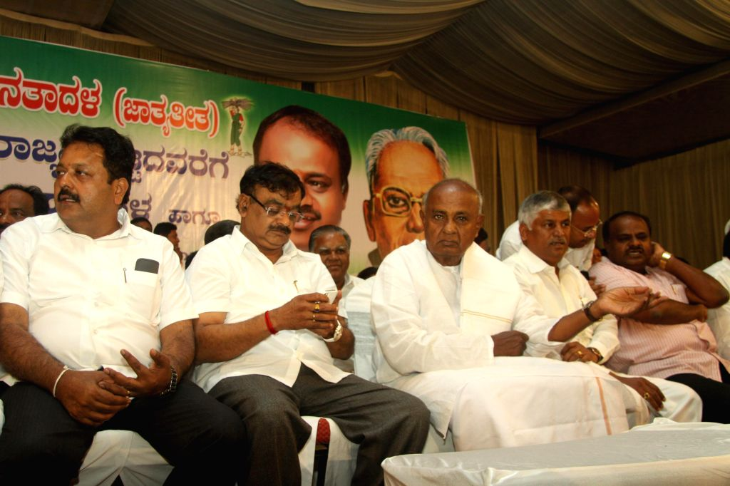 Former Prime Minister and JD(S) leader HD Deve Gowda during party workers' conference in Bangalore on Aug 18, 2014.