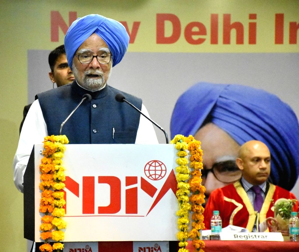 Former Prime Minister Dr. Manmohan Singh addresses at the convocation of 21st batch of the graduating MBA students of NDIM at New Delhi School of Management in New Delhi on Feb 18, 2019. - D and Manmohan Singh