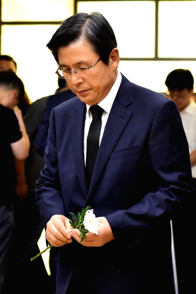 Former Prime Minister Hwang Kyo-ahn pays tribute at the funeral hall of Rep. Roh Hoe-chan at Yonsei University Severance Hospital in Seoul on July 24, 2018. Roh, 61, floor leader of the ... - Hwang Kyo