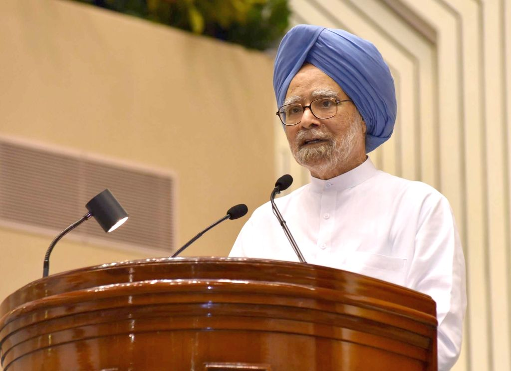 "Former Prime Minister Manmohan Singh addresses at the launch of ""Moving On... Moving Forward: A Year In Office"" - a book marking the completion of Naidu's one year as the Vice ... - Manmohan Singh"