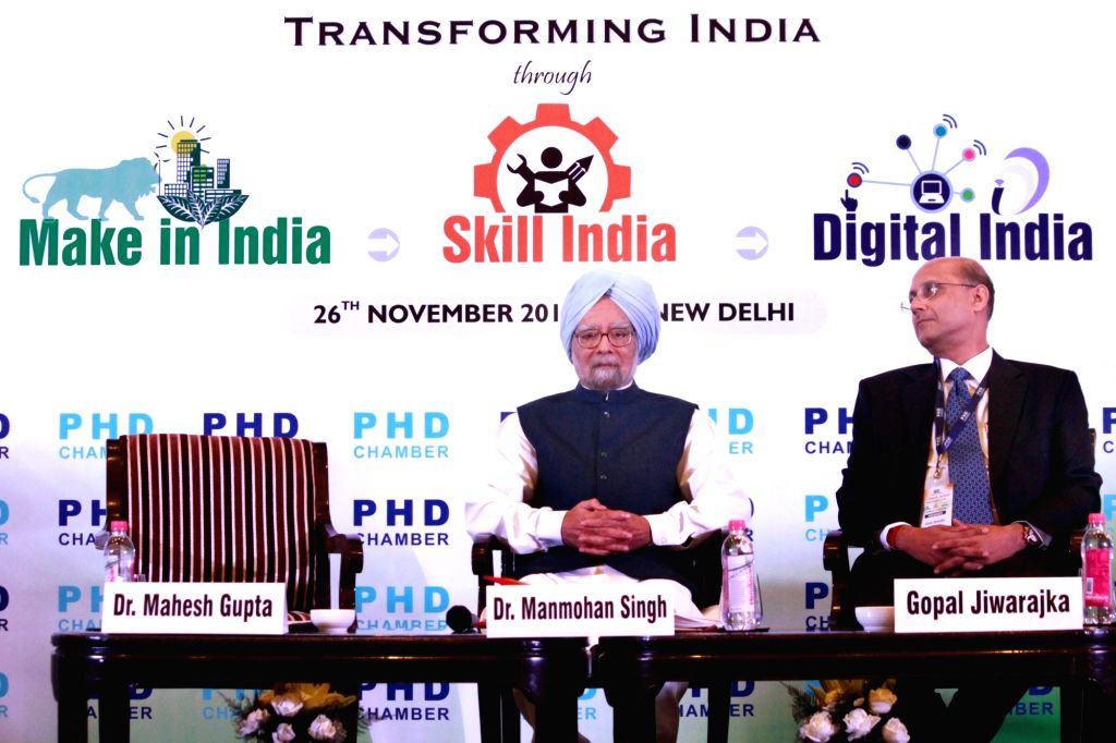 Former Prime Minister Manmohan Singh at the 111th Annual Session of PHD Chamber of Commerce and Industry in New Delhi on Nov 26, 2016. - Manmohan Singh