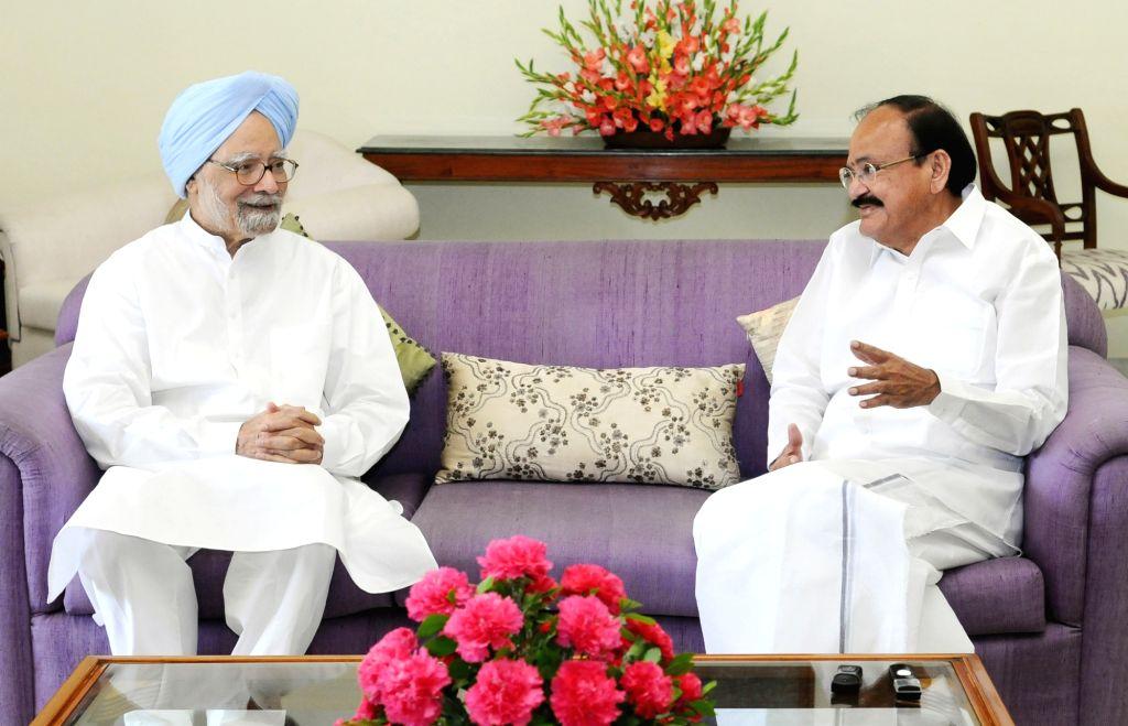 Former Prime Minister Manmohan Singh calls on Vice President M. Venkaiah Naidu in New Delhi on Aug 12, 2017. - Manmohan Singh and M. Venkaiah Naidu