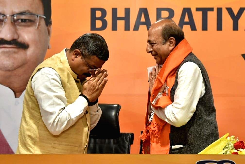 Former Railway Minister and Sr. TMC leader Dinesh Trivedi join BJP in the presence of national BJP president JP Nadda along with Piyush Goyal Minister of Railways, Union minister ... - Dharmender Pradhan