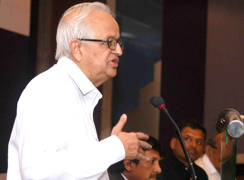 Former Reserve Bank of India Governor Bimal Jalan addresses during a programme on 'State of Indian Economy-Politics and Governance' in Kolkata on April 14, 2014. (Photo: IANS)