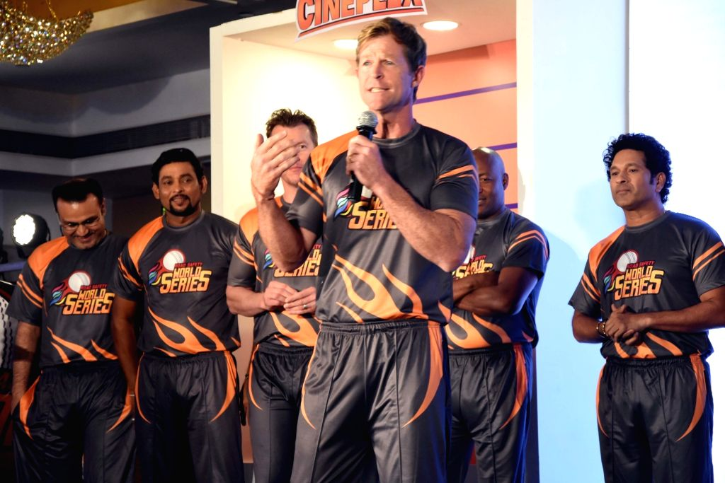 Former South African cricketer Jonty Rhodes addresses at the launch of 'Road Safety World Series' in Mumbai on Oct 17, 2019. Also seen former cricketers Virendra Sehwag, Tillakaratne Dilshan, ... - Sachin Tendulkar
