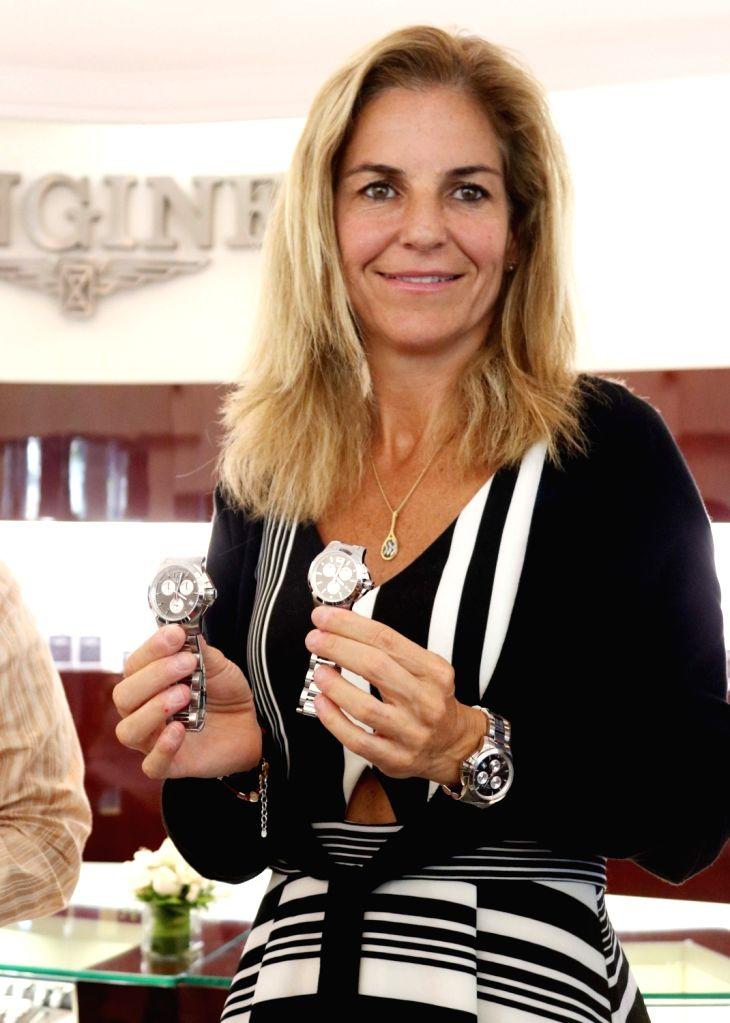 Former Spanish tennis player Arantxa Sanchez Vicario unveils Longines' Ronald Garros Timepiece in New Delhi, on April 17, 2017.
