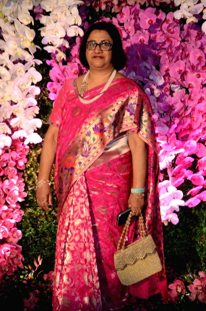 Former State Bank of India (SBI) Chairman Arundhati Bhattacharya at the wedding reception of Akash Ambani and Shloka Mehta in Mumbai, on March 10, 2019. - Akash Ambani and Shloka Mehta