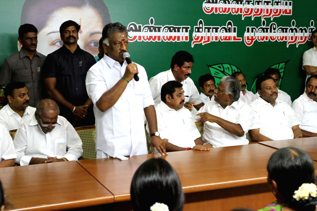 Former Tamil Nadu Chief Minister O. Panneerselvam addresses during the merger of the two factions of the party at the AIADMK headquarters  in Chennai on Aug 21, 2017. - O. Panneerselvam