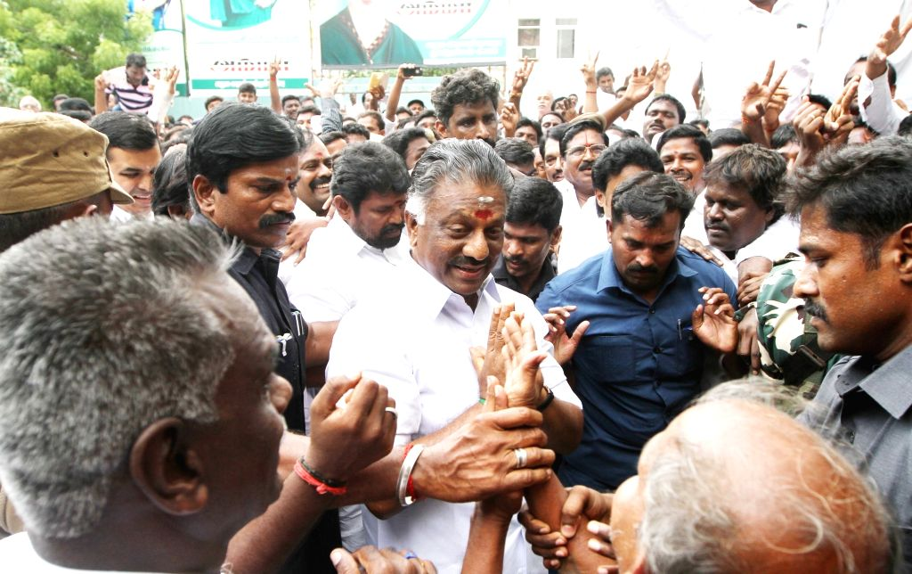 Former Tamil Nadu Chief Minister O. Panneerselvam at the AIADMK headquarters during the merger of the two factions of the party in Chennai on Aug 21, 2017. - O. Panneerselvam