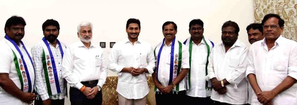 Former TDP MLC Jupudi Prabhakar joins YSRCP in the presence of Andhra Pradesh Chief Minister and YSRCP President Jagan Mohan Reddy, in Vijayawada on Oct 8, 2019. - Jagan Mohan Reddy