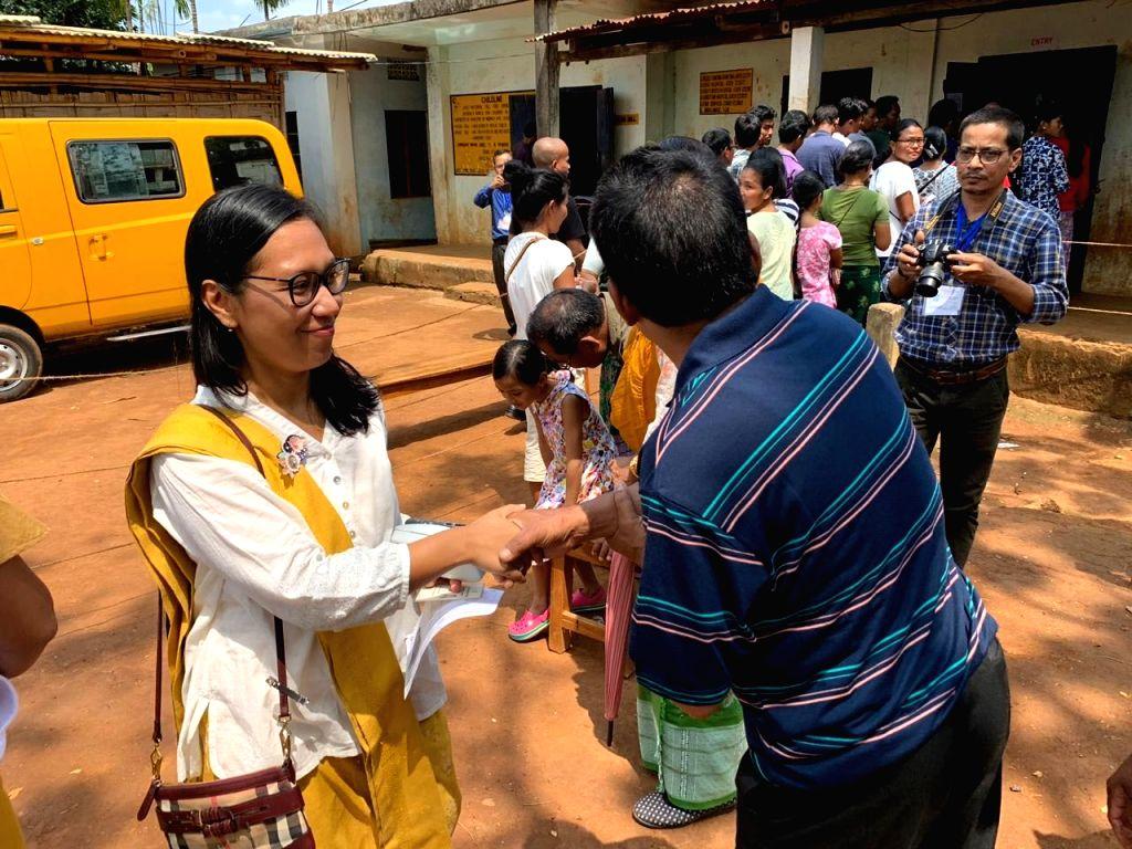 Former Union Minister Agatha K. Sangma at a polling station during Lok Sabha election in Meghalaya's Tura, on April 11, 2019. - Agatha K. Sangma