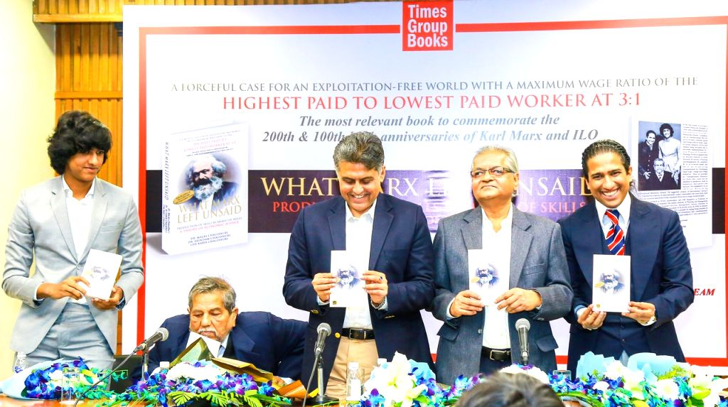 "Former Union Minister and author Manish Tewari launched ""What Marx Left Unsaid"", authored by Malay Chaudhuri, Arindam Chaudhuri and Che Kabir Chaudhuri at the India International Centre here."