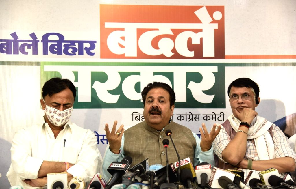 Former Union Minister and Congress leader Rajiv Shukla addresses a press conference ahead of Bihar Assembly elections, in Patna on Oct 26, 2020.