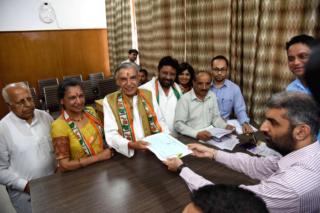 Former Union Minister and Congress' Lok Sabha candidate from Chandigarh, Pawan Kumar Bansal files his nomination for the forthcoming Lok Sabha elections, in Chandigarh on April 26, 2019. - Pawan Kumar Bansal