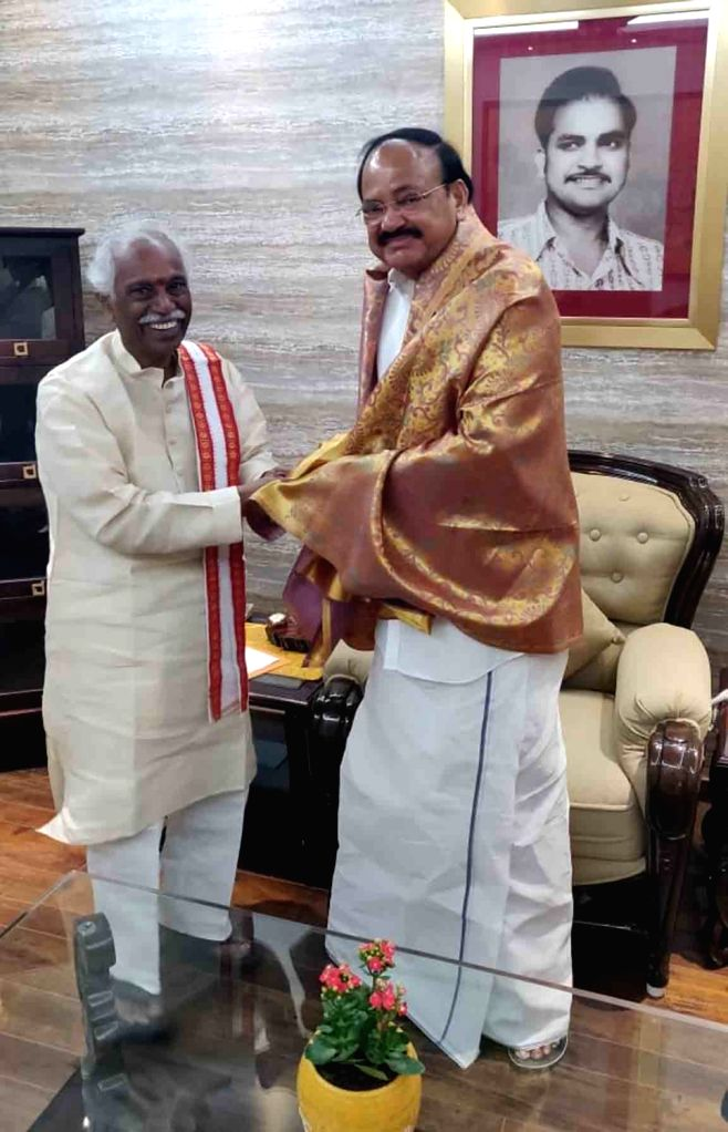 Former Union minister and senior BJP leader Bandaru Dattatreya calls on Vice President M Venkaiah Naidu in Hyderabad on July 21, 2019. - M Venkaiah Naidu