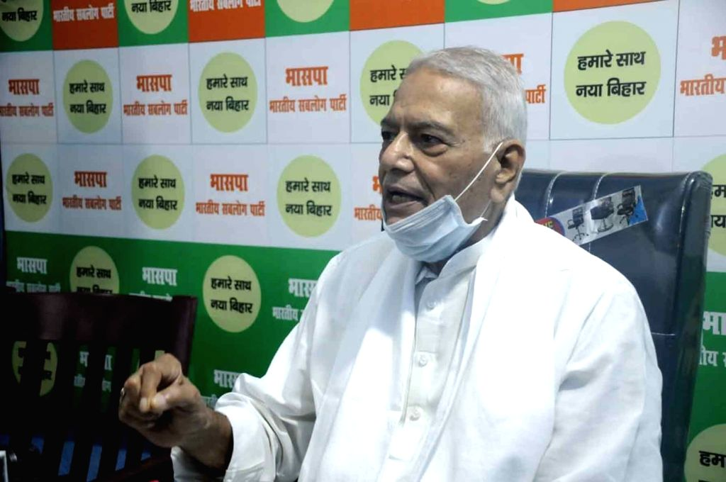 Former Union Minister Yashwant Sinha addresses a press conference in Patna on Aug 2, 2020. - Yashwant Sinha