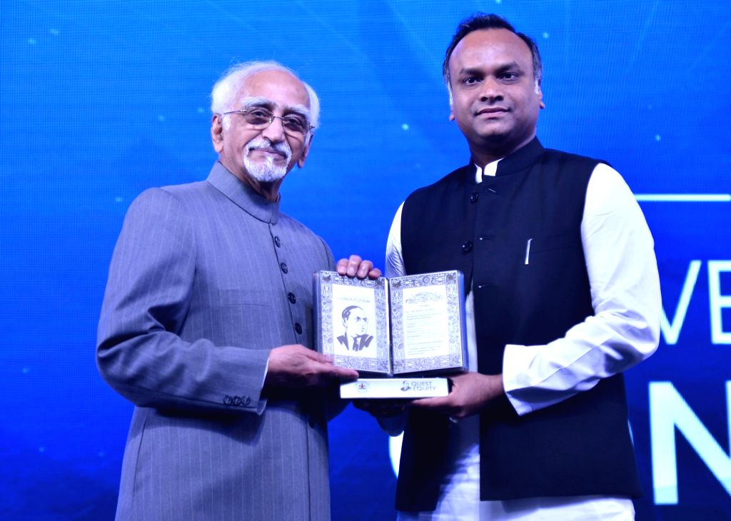 Former Vice President Hamid Ansari and Karnataka Social Welfare Minister Priyank M. Kharge during a two-day long seminar 'Conversations of the Constitution' organised by the state ... - Priyank M. Kharge