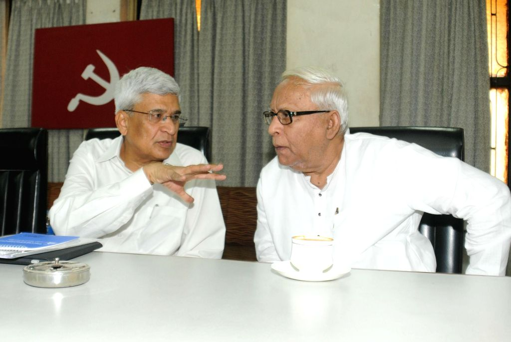 Former West Bengal chief minister Buddhadeb Bhattacharjee with CPI(M) general secretary Prakash Karat during a CPI(M) State committee meeting in Kolkata, on Nov 5, 2014.