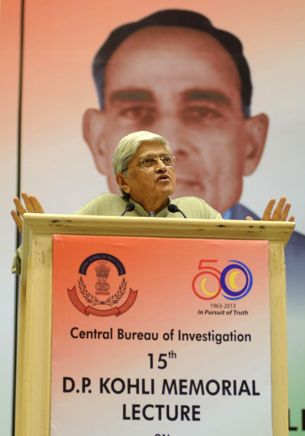 "Former West Bengal Governor Gopal Krishna Gandhi delivers the 15th D P Kohli Memorial Lecture on ""Eclipse at Noon: Shadows over India's Conscience"" in New Delhi on April 15, 2014. - Gopal Krishna Gandhi"