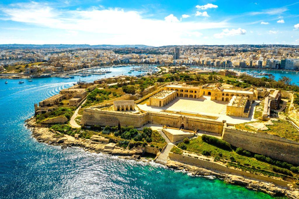 Fort Manoel on Manoel island. Gzira city. Aerial view. Malta