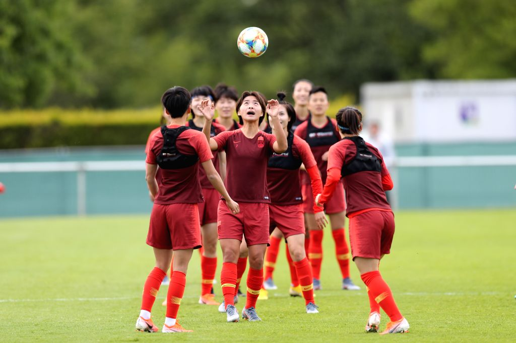 FOUGERES, June 6, 2019 - China's Wang Shuang (C) attends the training session two days ahead of the group B match between China and Germany at the 2019 FIFA Women's World Cup in Fougeres, France, ...