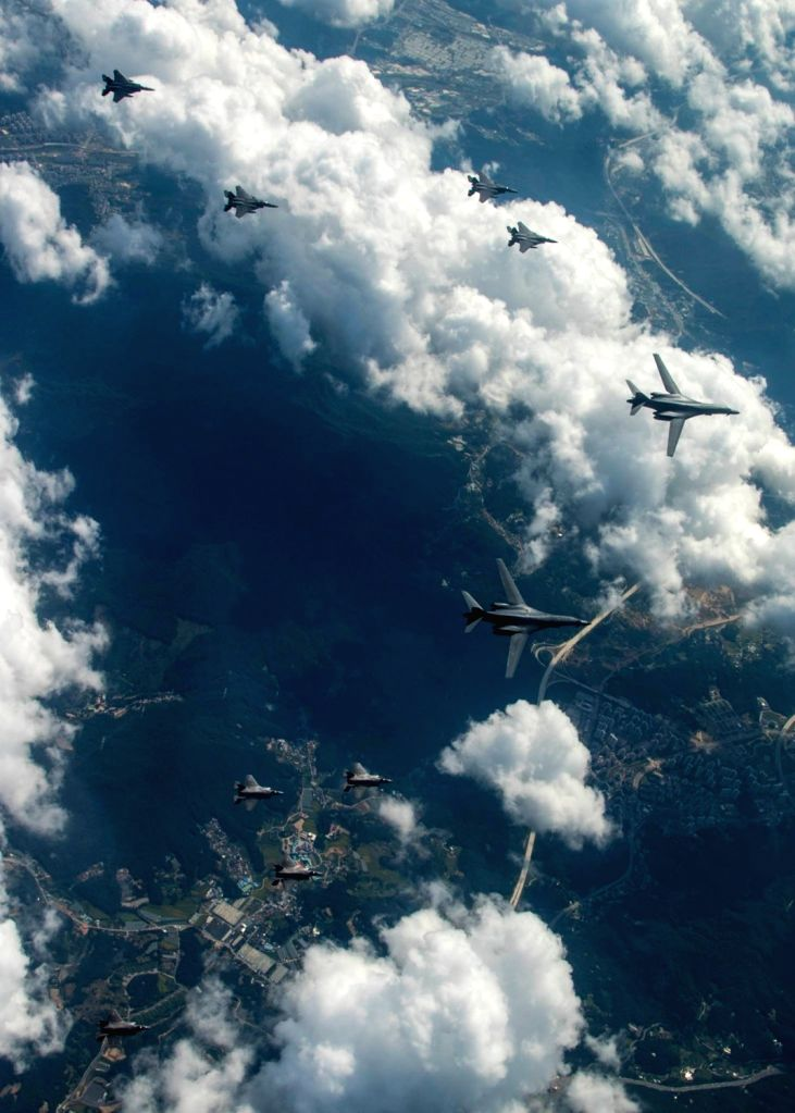 Four U.S. F-35B stealth jets and two B-1B strategic bombers fly near the inter-Korean border on Sept. 18, 2017, alongside four South Korean fighters in a show of the alliance's powerful deterrence ...