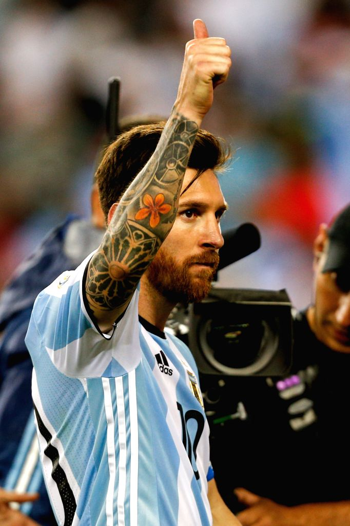 FOXBOROUGH, June 19, 2016 - Lionel Messi of Argentina greets the spectators after the quarterfinal match of 2016 Copa America soccer tournament against Venezuela at Gillette Stadium in Foxborough, ...