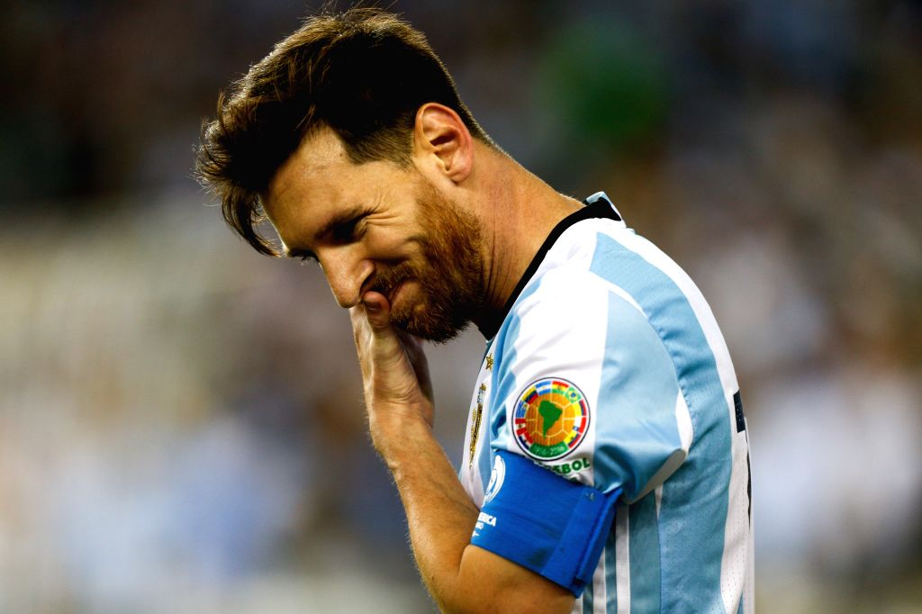 FOXBOROUGH, June 19, 2016 - Lionel Messi of Argentina reacts during the quarterfinal match of 2016 Copa America soccer tournament against Venezuela at Gillette Stadium in Foxborough, MA, the United ...