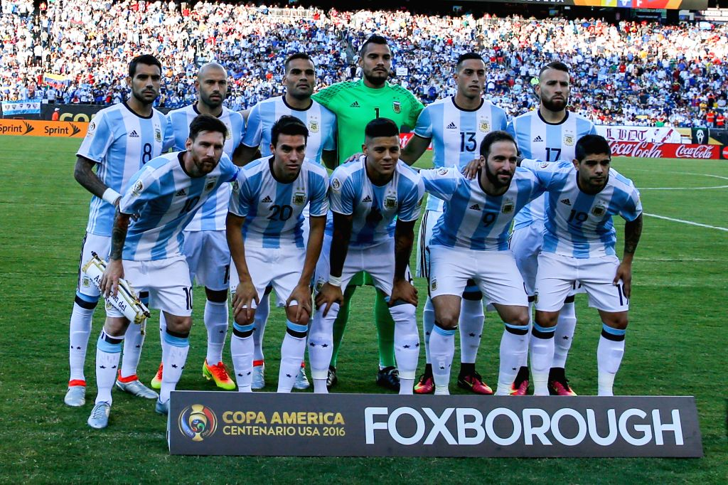 FOXBOROUGH, June 19, 2016 - Players of Argentina line up ahead of the quarterfinal match of 2016 Copa America soccer tournament against Venezuela at Gillette Stadium in Foxborough, MA, the United ...