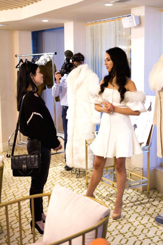 France based fashion designer Saknia Shbib at the ongoing Paris Fashion Week in Paris.