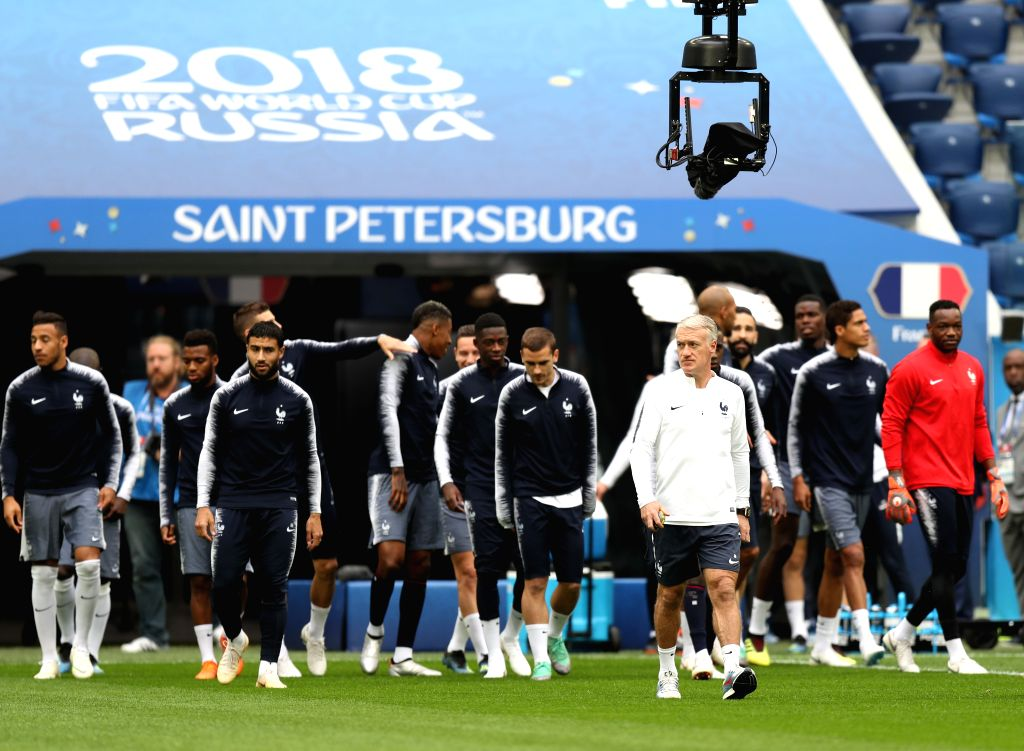 France's head coach Didier Deschamps (Front) leads a training session in Saint Petersburg, Russia, on July 9, 2018.