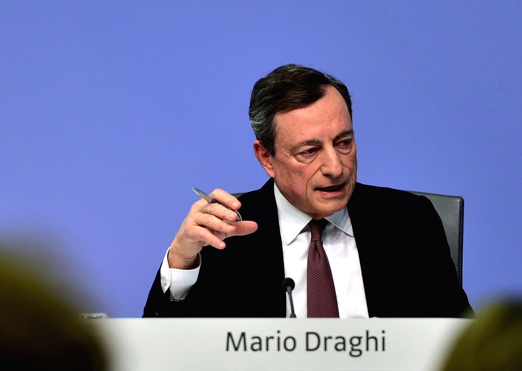FRANKFURT, April 10, 2019 - European Central Bank (ECB) President Mario Draghi attends a press conference at the ECB headquarters in Frankfurt, Germany, April 10, 2019 The ECB Wednesday announced to ...