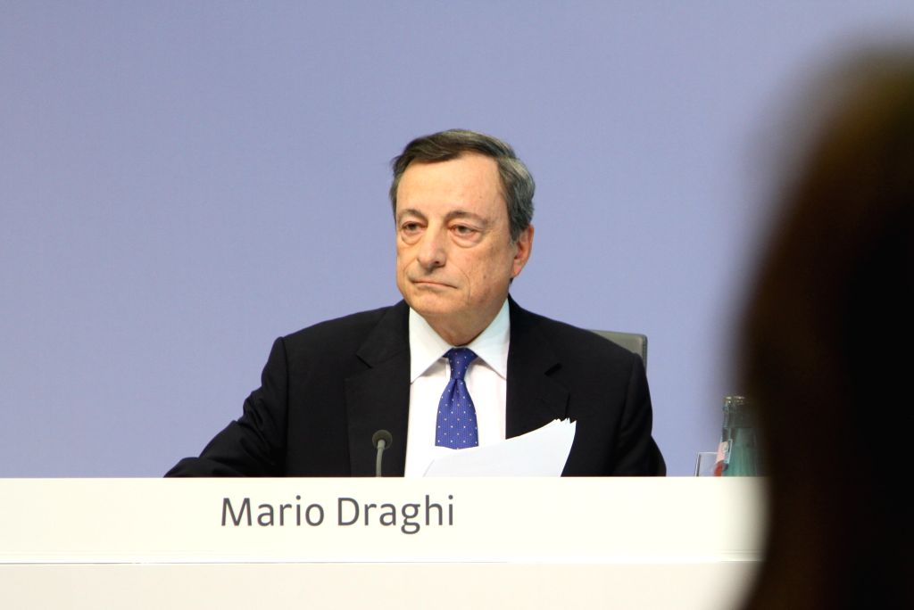 FRANKFURT, April 27, 2017 - Mario Draghi, president of the European Central Bank (ECB), attends a press conference at the ECB headquarters in Frankfurt, Germany, April 27, 2017. The Governing Council ...