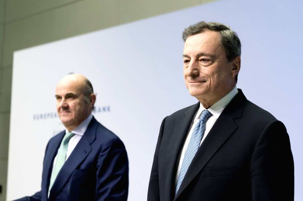 FRANKFURT, Dec. 14, 2018 - European Central Bank (ECB) President Mario Draghi attends a press conference at the ECB headquarters in Frankfurt, Germany, on Dec. 13, 2018. The ECB Thursday announced to ...