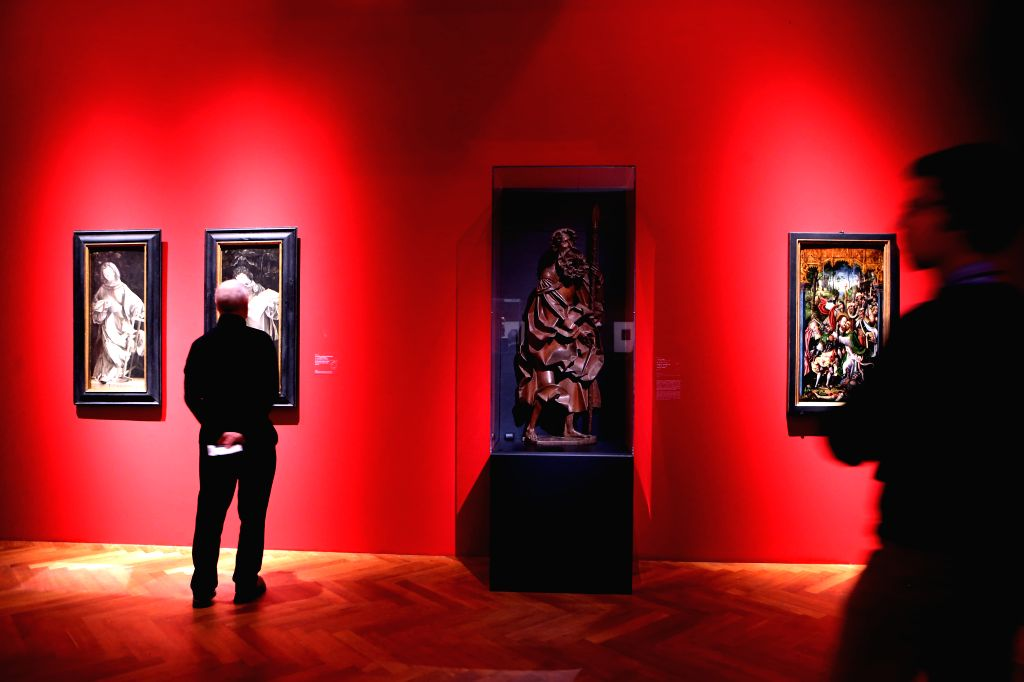 "People visit the exhibition ""Realms of Imagination: Albrecht Altdorfer and the Expressivity of Art around 1500"" at the Staedel Museum in Frankfurt, ..."