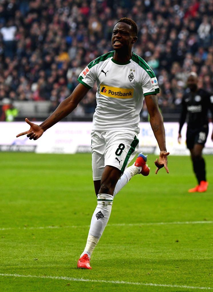 FRANKFURT, Feb. 18, 2019 - Denis Zakaria of Moenchengladbach celebrates after scoring during the Bundesliga match between Eintracht Frankfurt and Borussia Moenchengladbach in Frankfurt, Germany, Feb. ...