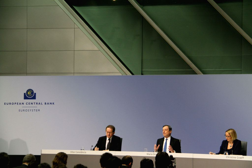 European Central Bank President Mario Draghi (C) attends a press conference in Frankfurt, Germany, on Jan. 22, 2015. The European Central Bank decided on Thursday