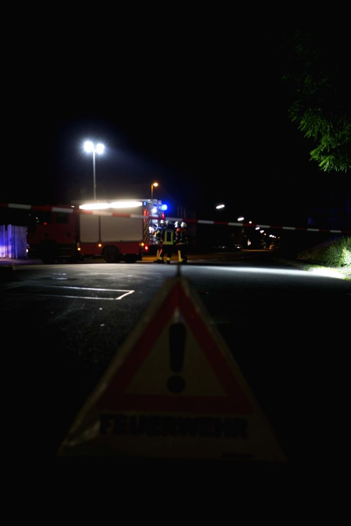 FRANKFURT, July 19, 2016 - Photo taken on July 19, 2016 shows the blocked road at the site of an attack near Wuerzburg in the southern German state of Bavaria. An axe wielding man wounded four ...