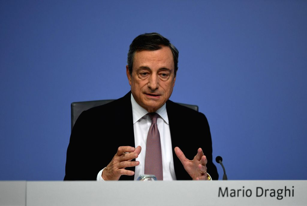 FRANKFURT, July 25, 2019 - European Central Bank (ECB) President Mario Draghi speaks during a press conference held at the ECB headquarters in Frankfurt, Germany, on July 25, 2019. The ECB on ...