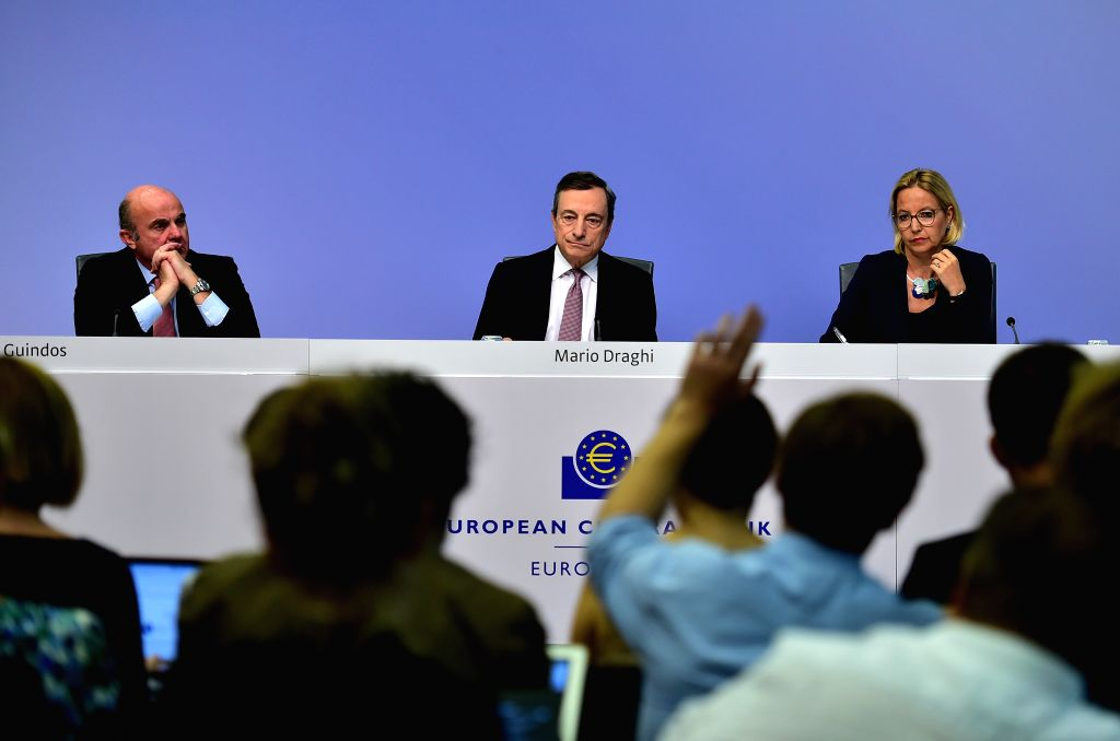 FRANKFURT, July 25, 2019 - European Central Bank (ECB) President Mario Draghi(C) looks on during a press conference held at the ECB headquarters in Frankfurt, Germany, July 25, 2019. The ECB on ...