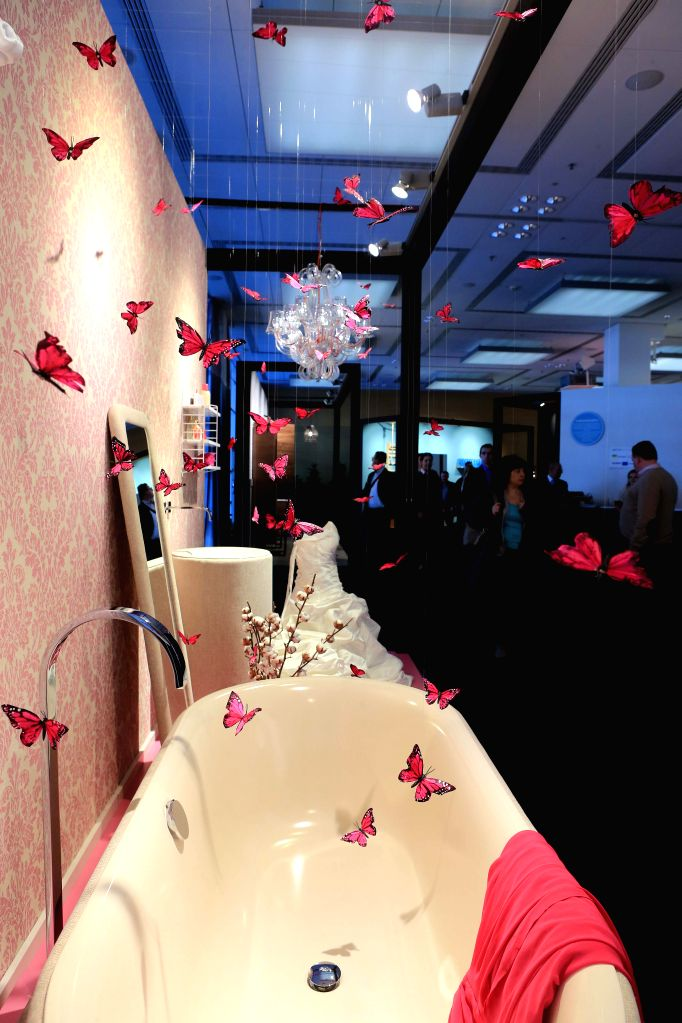 """FRANKFURT, March 15, 2017 - People visit """"Pop Up My Bathroom"""" at the leading world trade fair ISH in Frankfurt, Germany, on March 14, 2017. The ISH trade fair opened in Frankfurt on ..."""