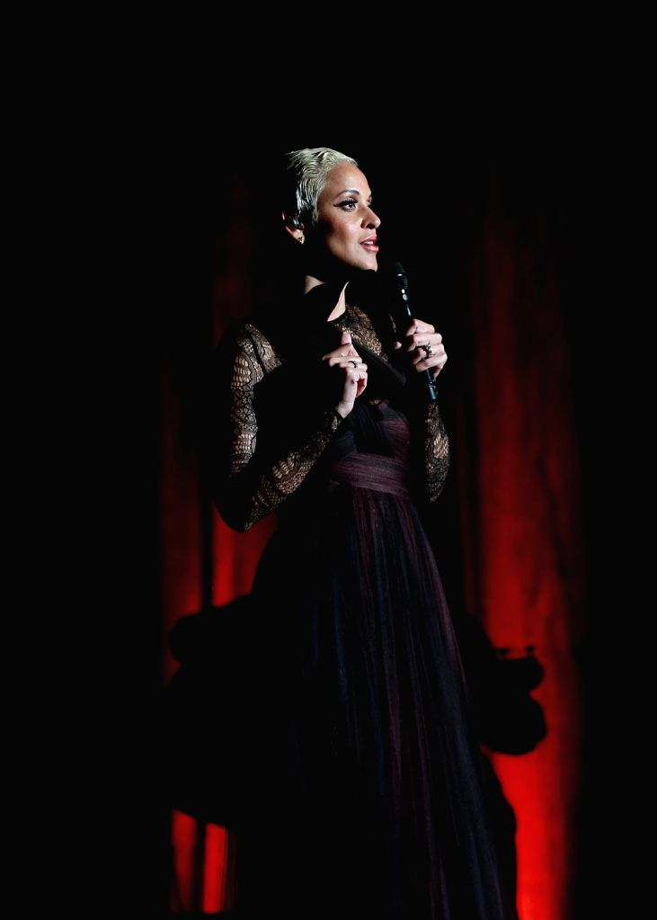 Portuguese popular fado singer Mariza performs during the Women of the World Music Festival 2014 at the Old Opera House in Frankfurt, Germany, on May 9, 2014. ...