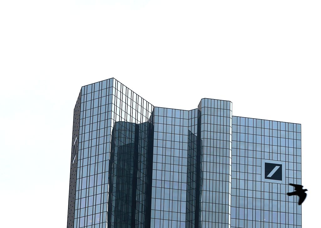 FRANKFURT, May 3, 2017 (Xinhua) -- Photo taken on May 3, 2017 in Frankfurt, Germany shows the tower of the Deutsche Bank. By raising its stake to 9.92 percent in Deutsche Bank, China's conglomerate HNA Group has become the top single shareholder of t