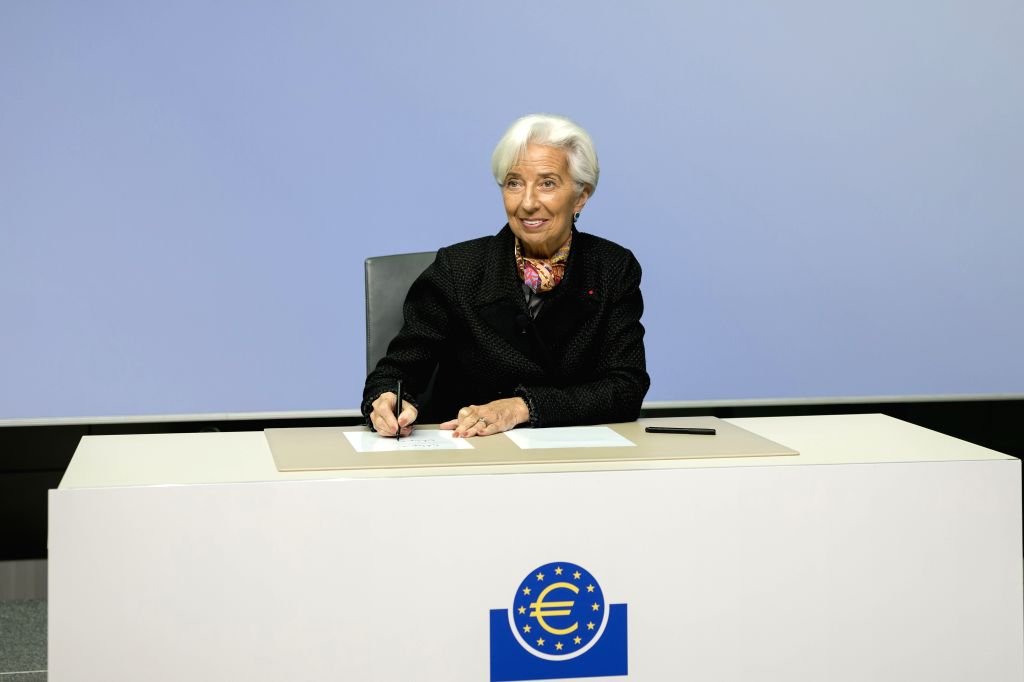 FRANKFURT, Nov. 27, 2019 - The new president of the European Central Bank (ECB) Christine Lagarde writes her signature to be printed on Euro banknotes at the ECB headquarters in Frankfurt, Germany, ...