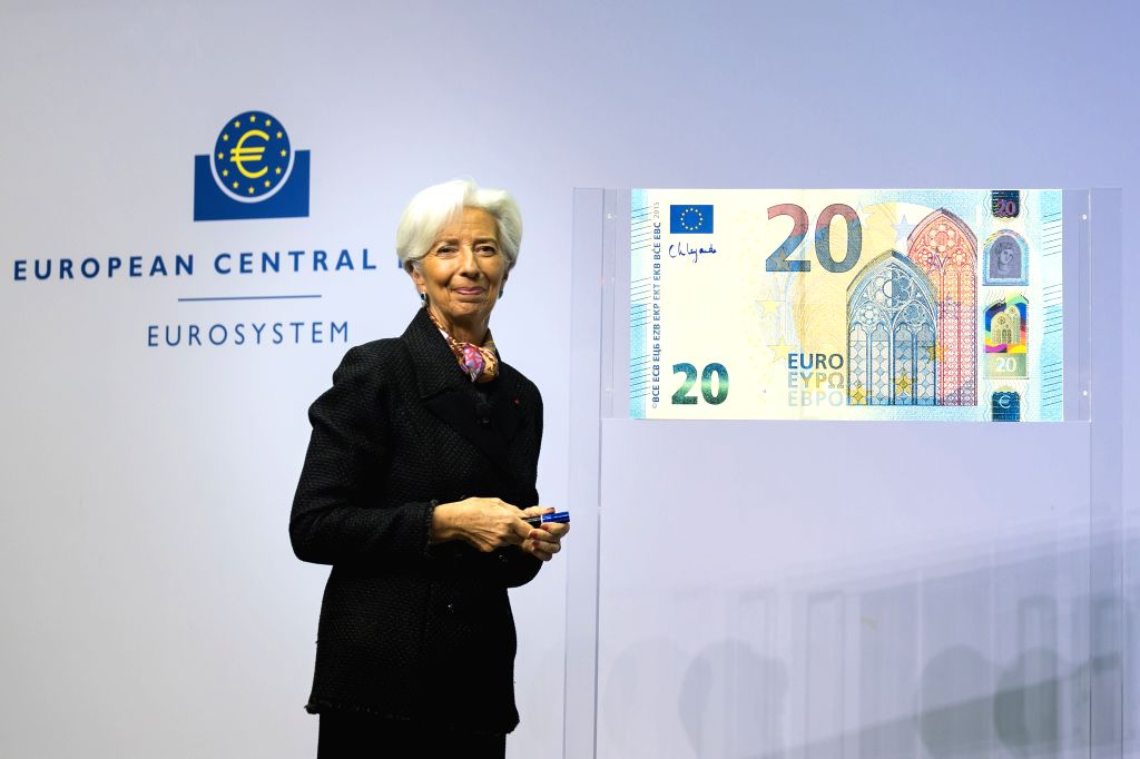 FRANKFURT, Nov. 27, 2019 - The new president of the European Central Bank (ECB) Christine Lagarde poses for photos after writing her signature to be printed on Euro banknotes at the ECB headquarters ...
