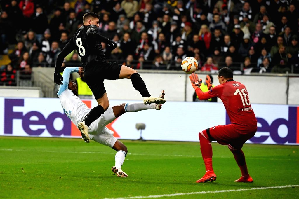 FRANKFURT, Nov. 30, 2018 - Luka Jovic (C) of Frankfurt shoots during the UEFA Europa League Group H match between Eintracht Frankfurt and Olympique de Marseille in Frankfurt, Germany, on Nov. 29, ...