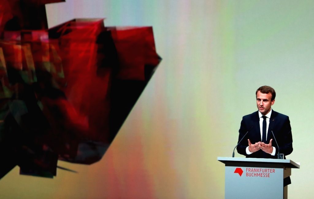 FRANKFURT, Oct. 10, 2017 - French President Emmanuel Macron delivers a speech at the opening ceremony of the 69th Frankfurt Book Fair in Frankfurt, Germany, on Oct. 10, 2017. German Chancellor Angela ...